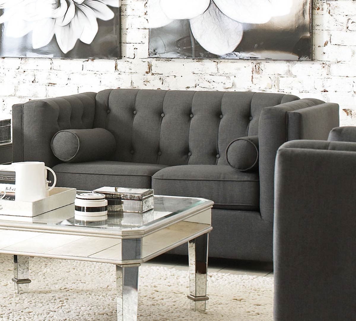 Coaster Cairns Love Seat - Charcoal/Brown