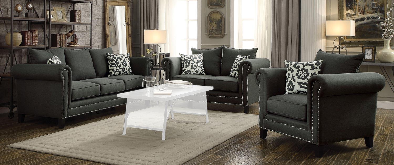 Coaster Emerson Sofa Set   Charcoal