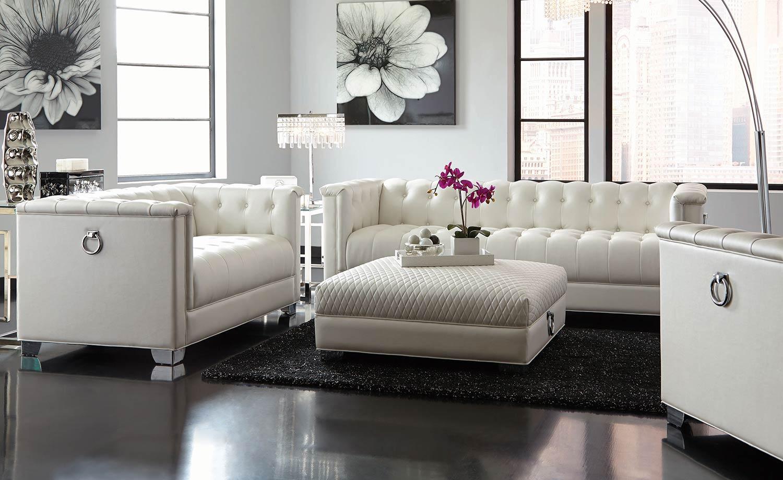 Coaster Chaviano Sofa Set - Pearl White