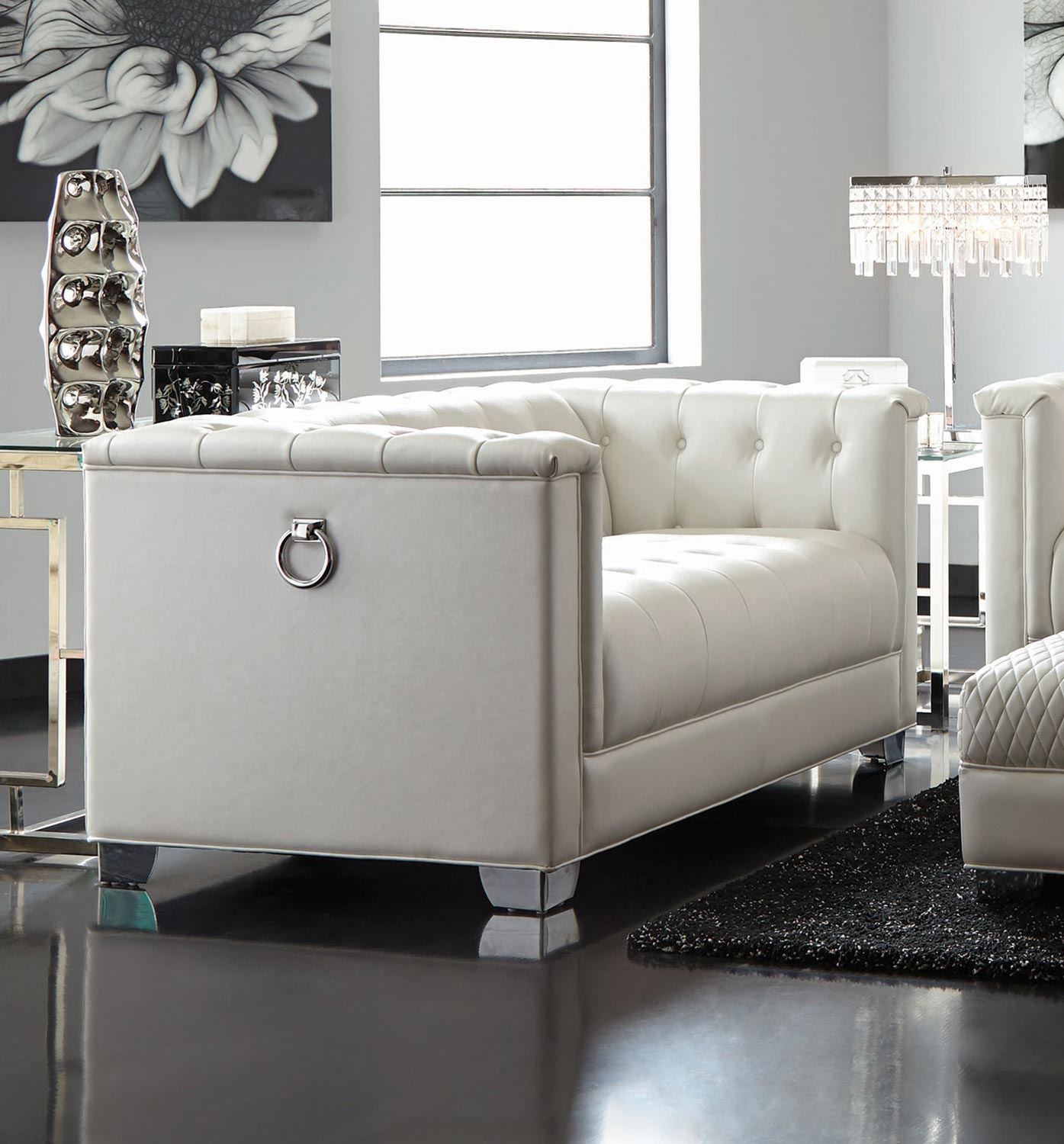 Chaviano Sofa In White Leatherette 505391 By Coaster W Options: Pearl White 505391-LIVING-SET