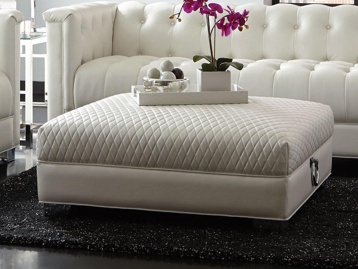 Coaster Chaviano Ottoman - Pearl White
