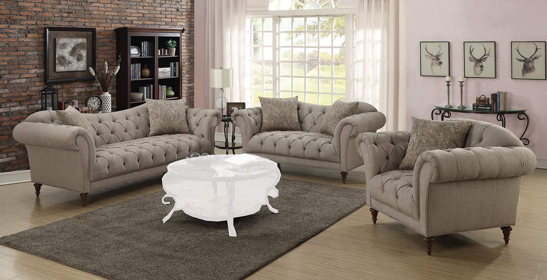 Coaster Alasdair Sofa Set Light Brown