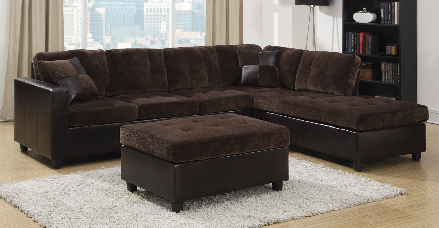 Coaster Mallory Sectional Sofa Set - Chocolate