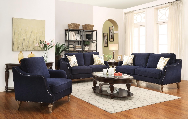coaster vessot sofa set ink blue 505791 sofa set at. Black Bedroom Furniture Sets. Home Design Ideas
