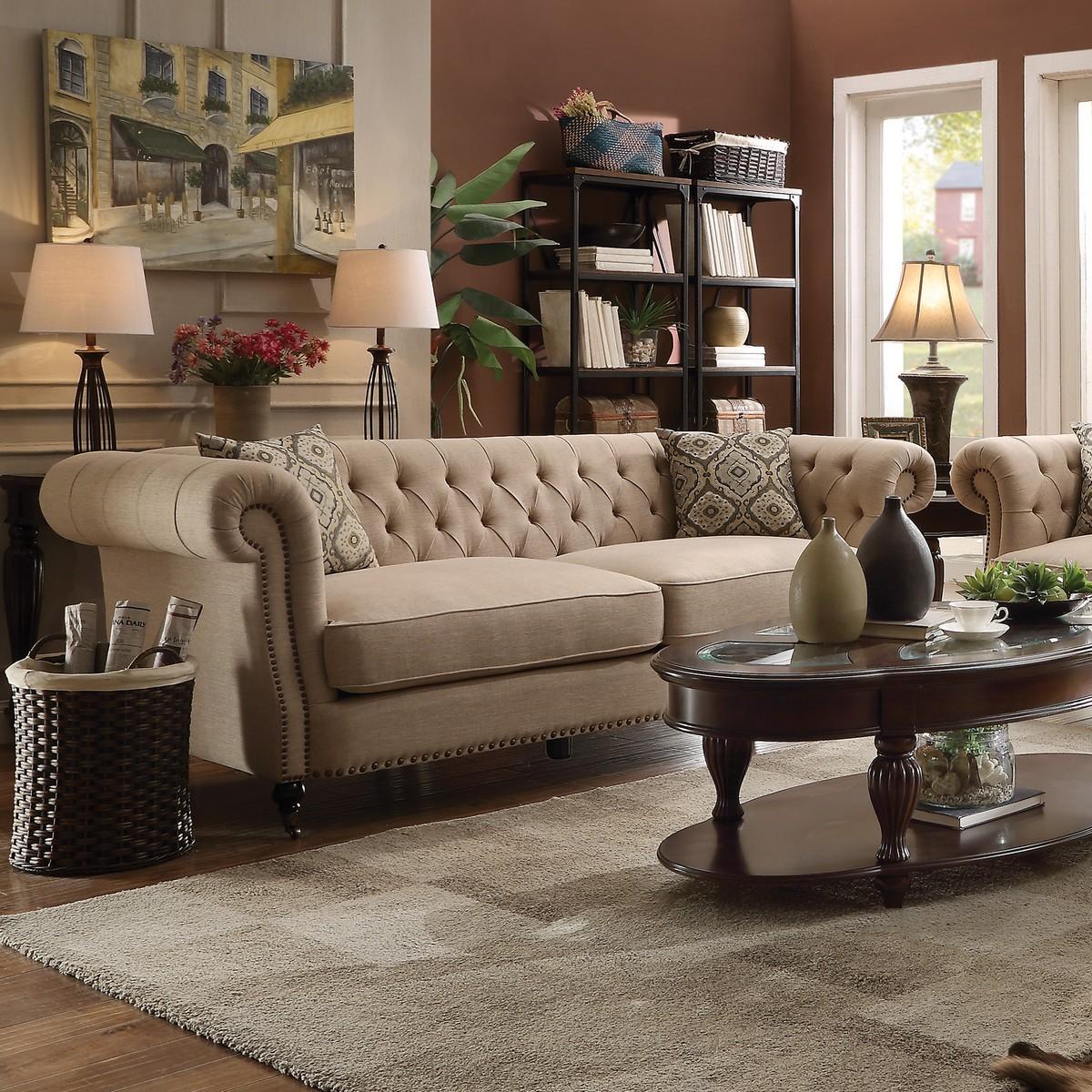 Coaster trivellato sofa oatmeal 505821 at for Coaster co of america furniture