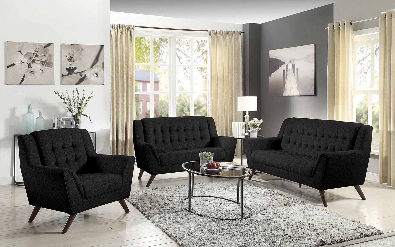 Coaster Baby Natalia Sofa Set Black