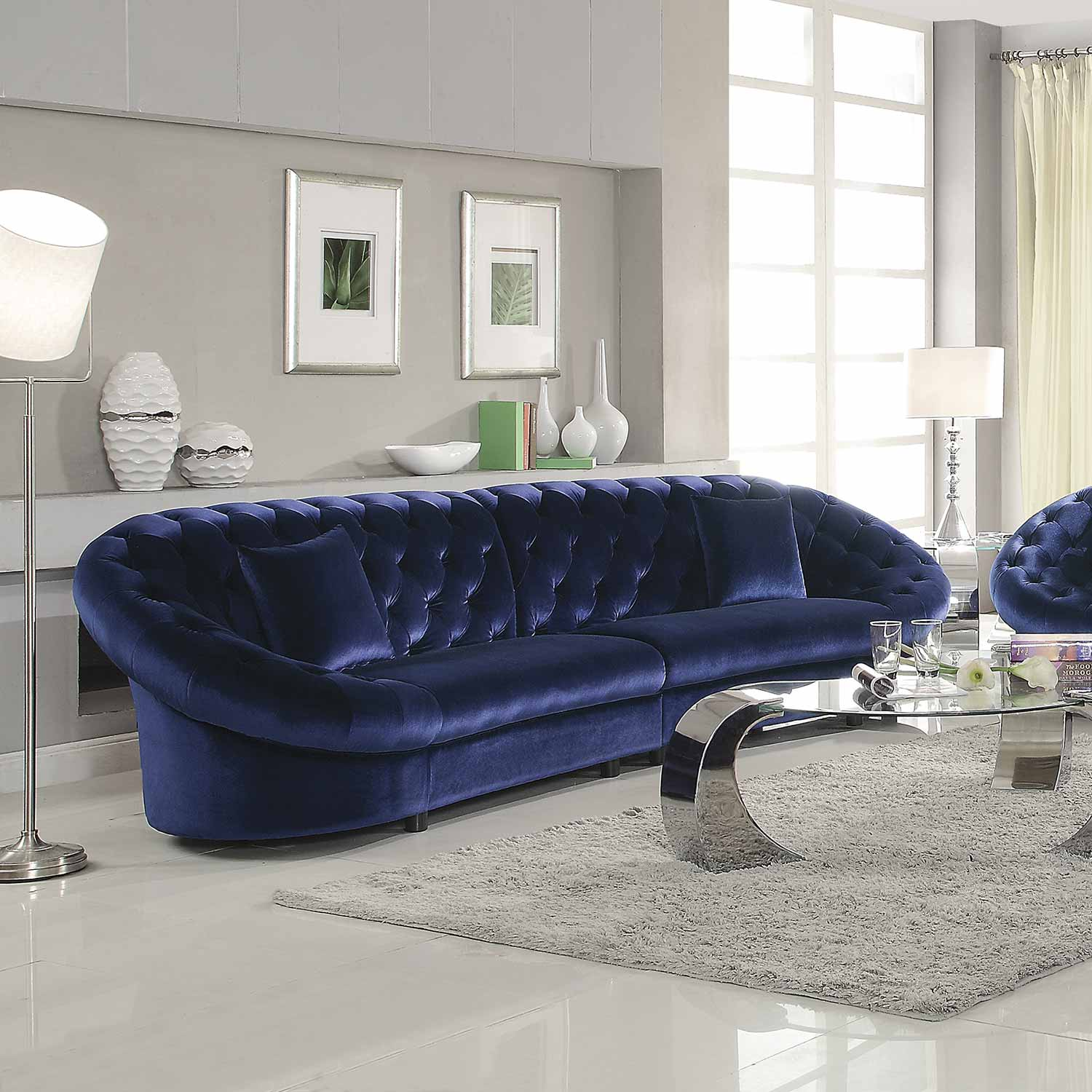 Coaster Romanus Sectional Sofa Royal Blue at Homelement