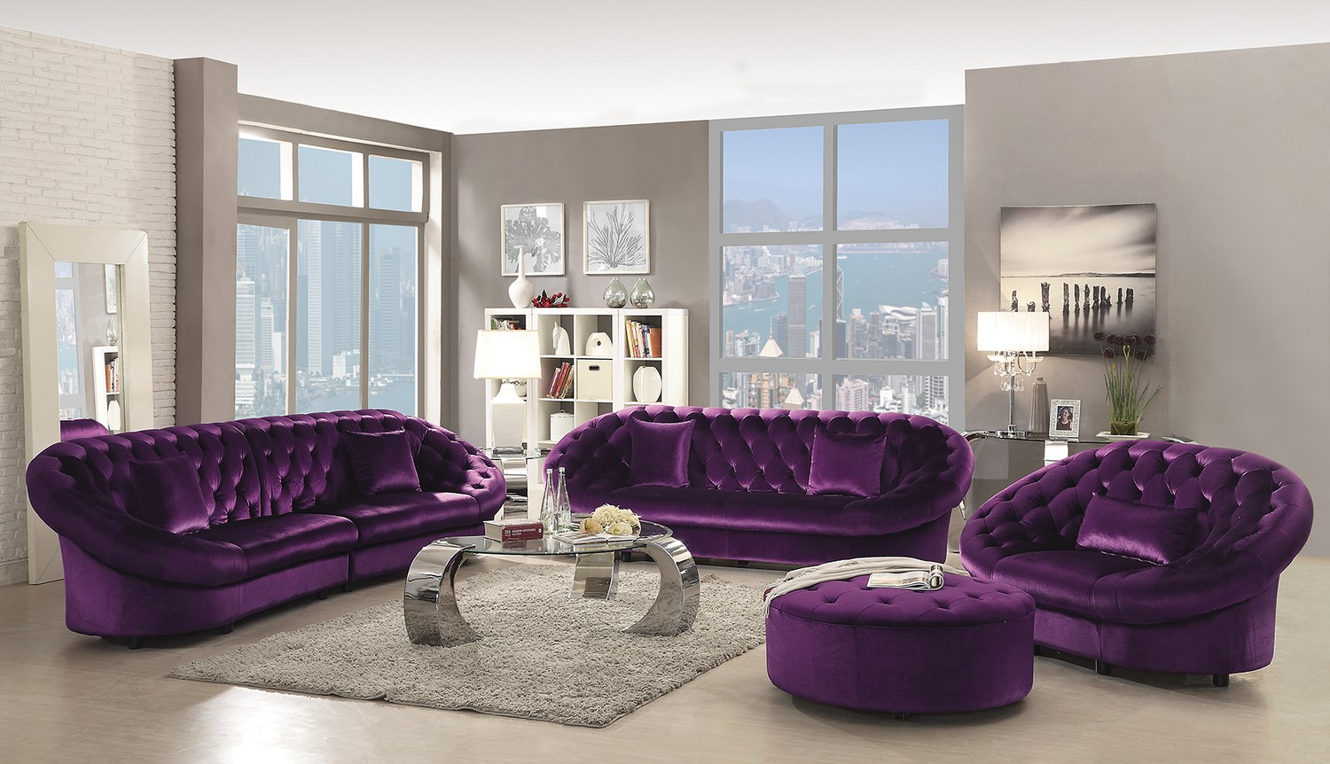 white and purple living room coaster romanus sofa set purple 511045 sofa set at 22538