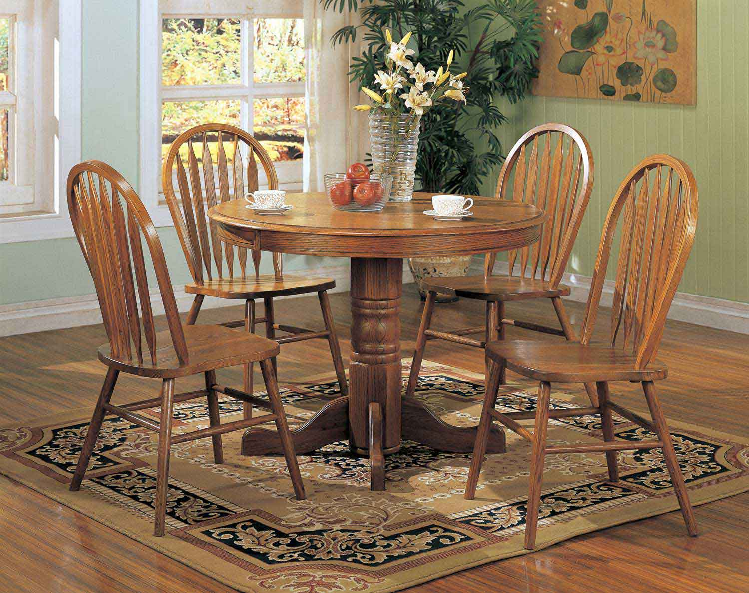Coaster Mackinaw 5245N RoundDining Set A - Warm Oak