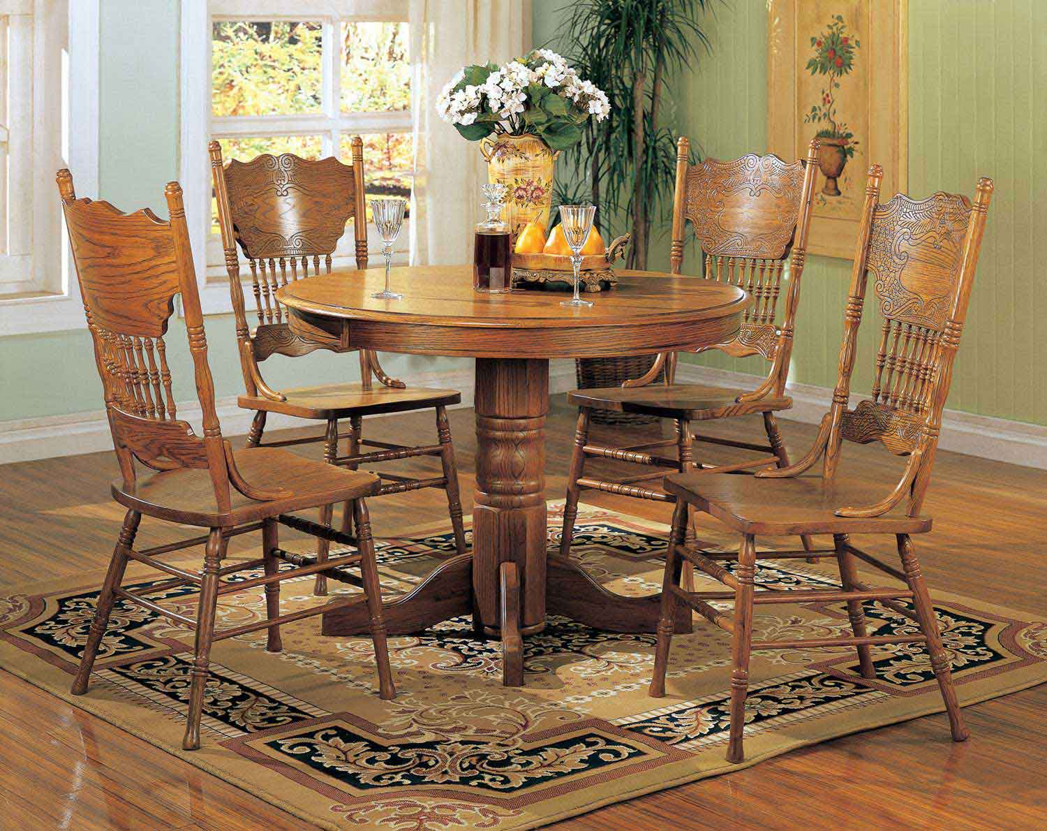 Coaster Mackinaw 5245N Round Dining Set B - Warm Oak
