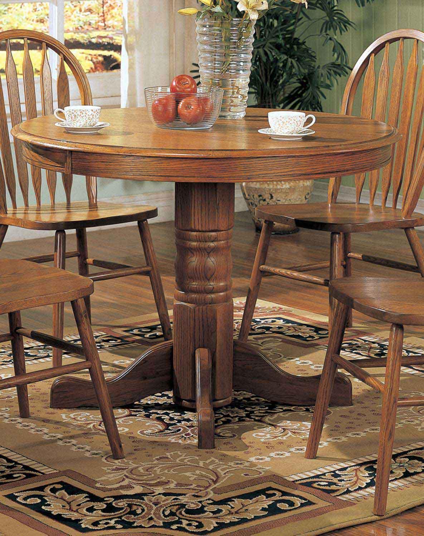 Coaster Mackinaw 5245N Round Dining Table - Warm Oak