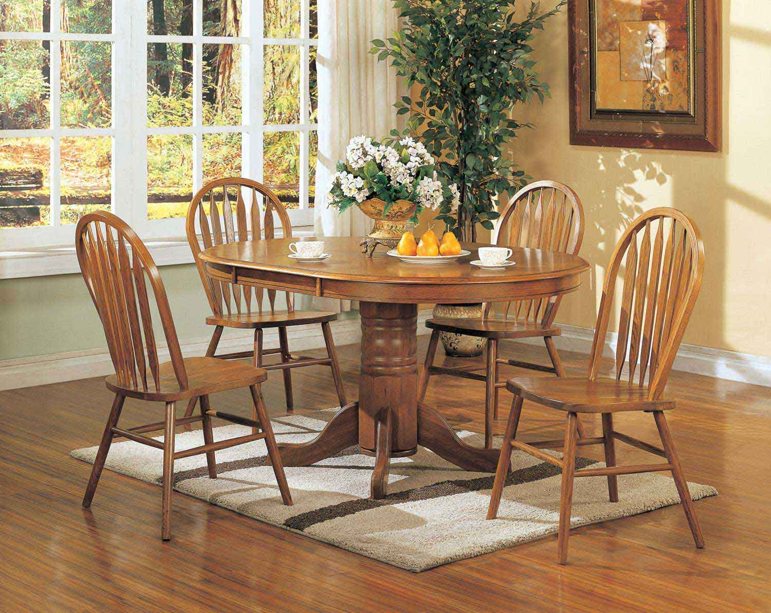 Coaster Mackinaw 5264N Oval Dining Set A - Warm Oak
