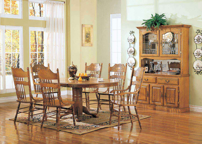 Coaster Mackinaw 5279N Oval Dining Set - Warm Oak