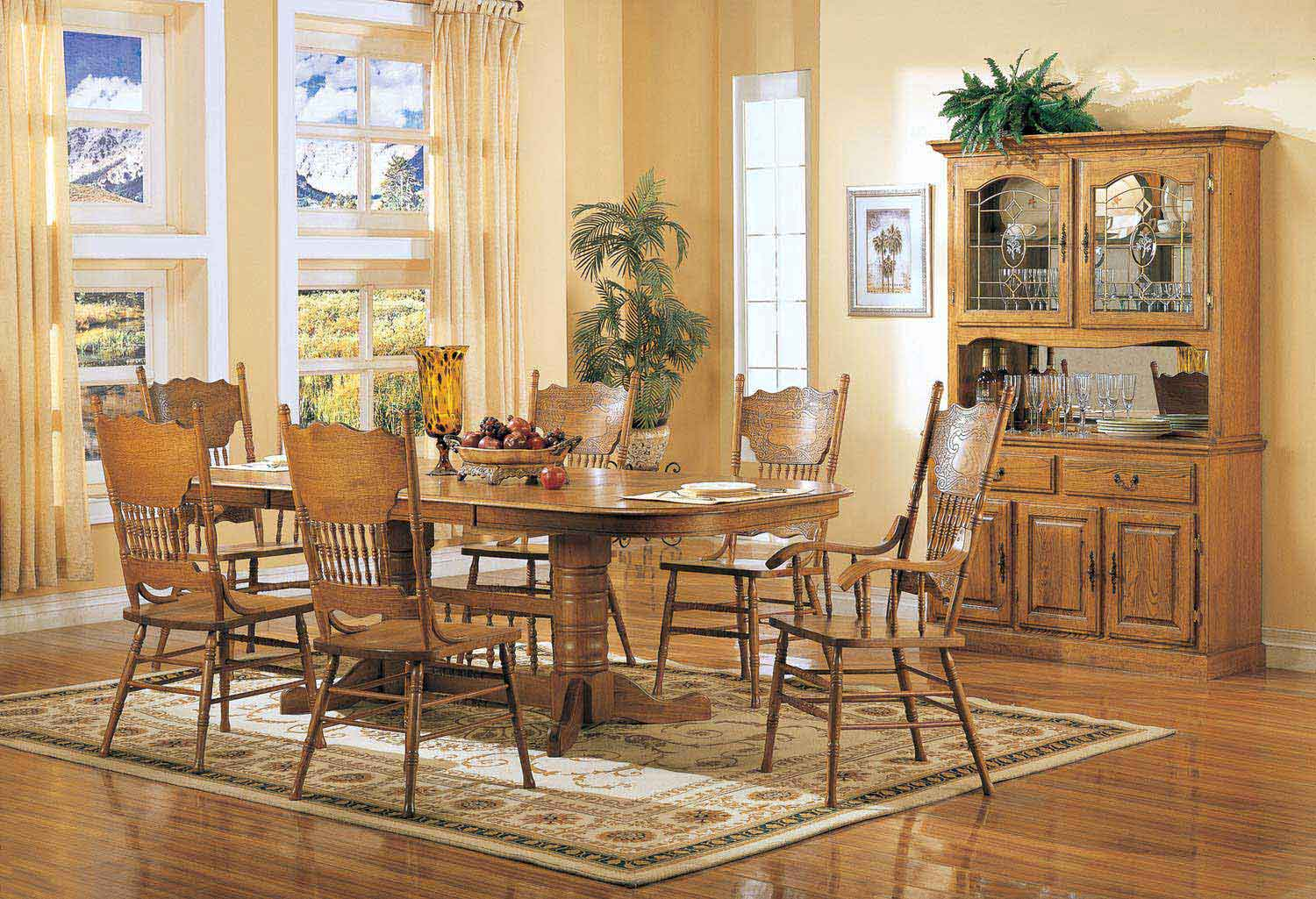 Coaster Mackinaw 5396N Rectangular Dining Set A - Warm Oak