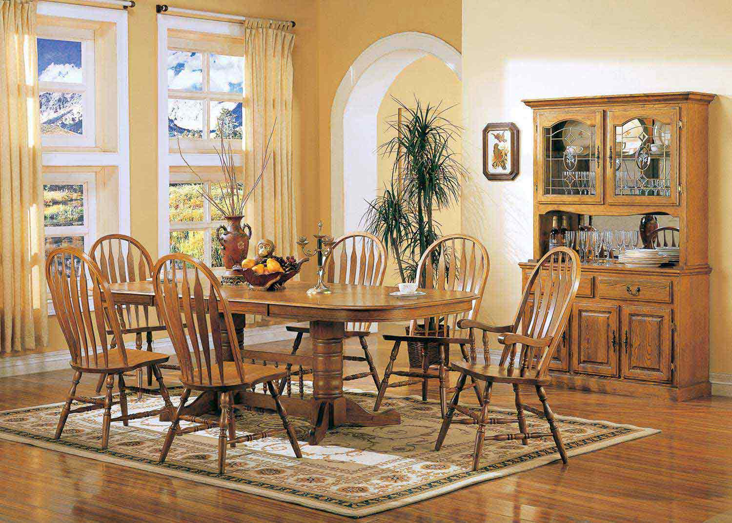 Coaster Mackinaw 5396N Rectangular Dining Set - Warm Oak