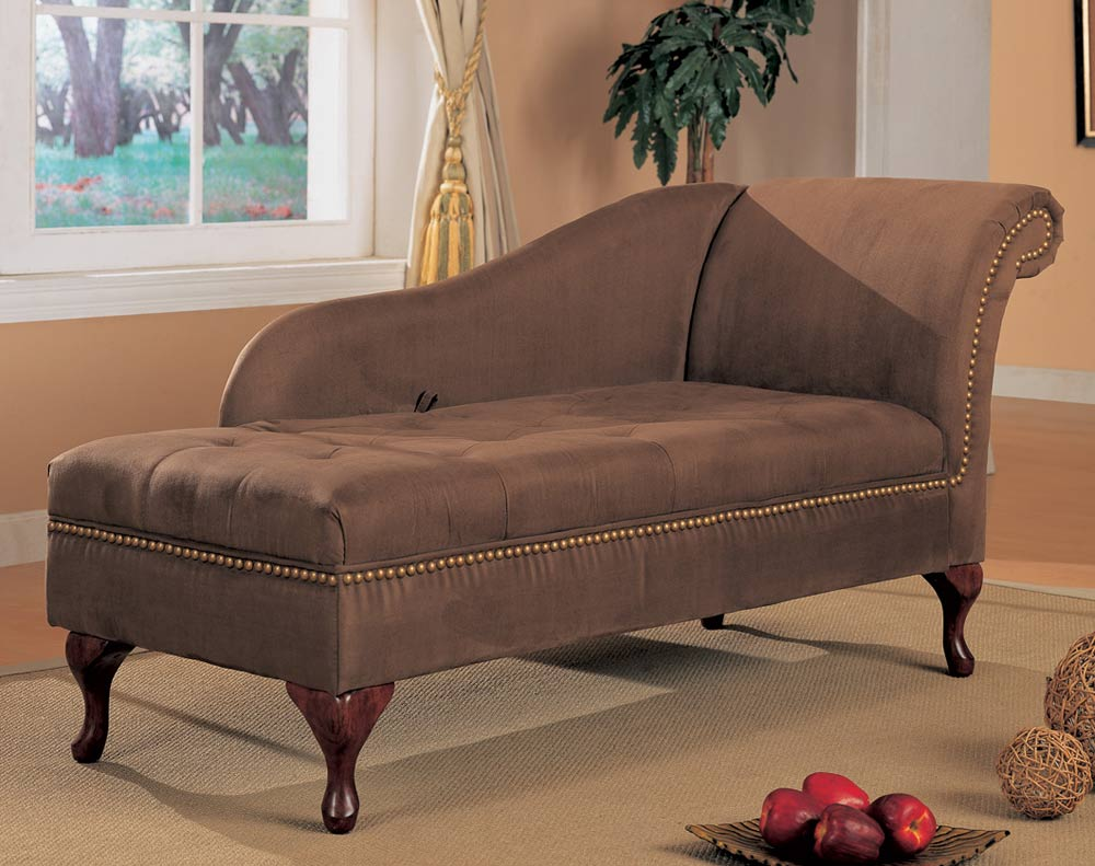 Furniture living room furniture chaise cherry chaise for Brown microfiber chaise lounger
