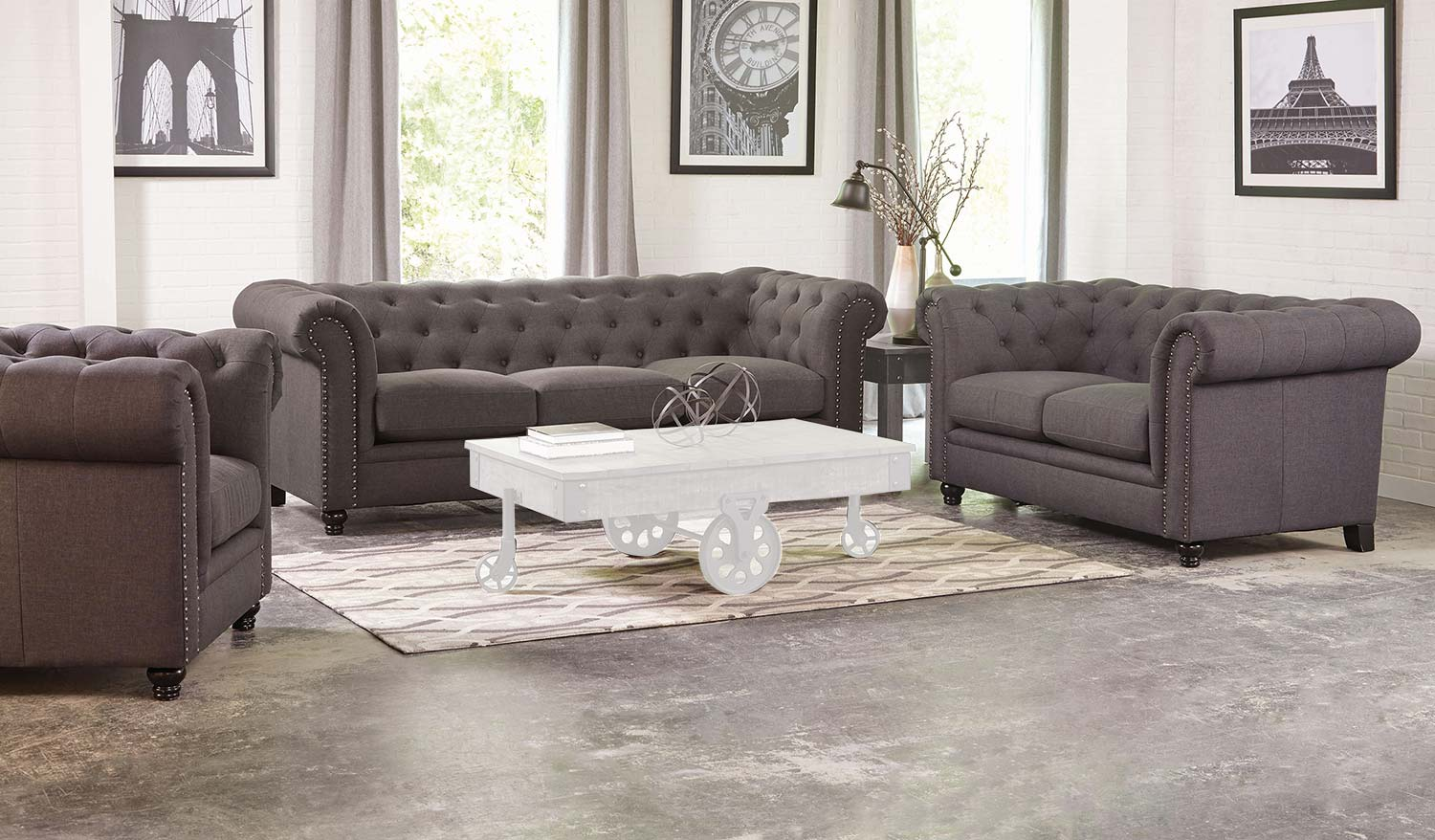 Gentil Coaster Roy Sofa Set   Grey
