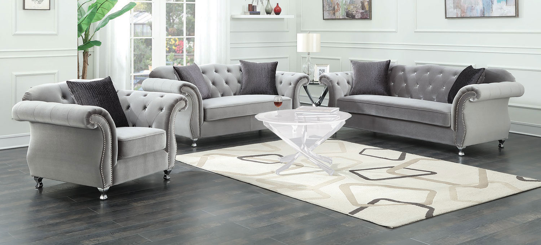 Coaster Frostine Sofa Set   Silver
