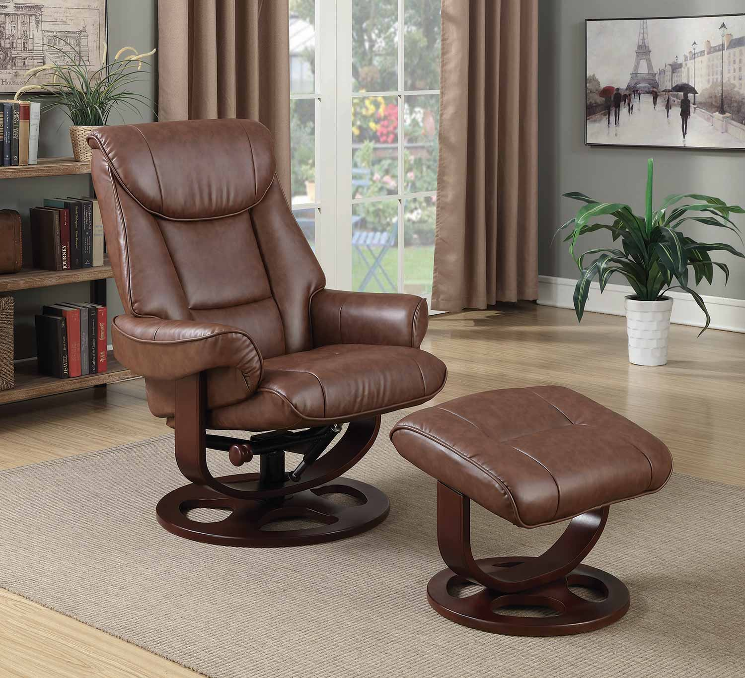 Coaster 600087 Glider Recliner with Ottoman - Brown
