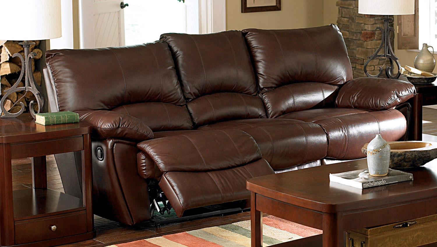 Coaster Clifford Power Reclining Sofa Set Dark Brown