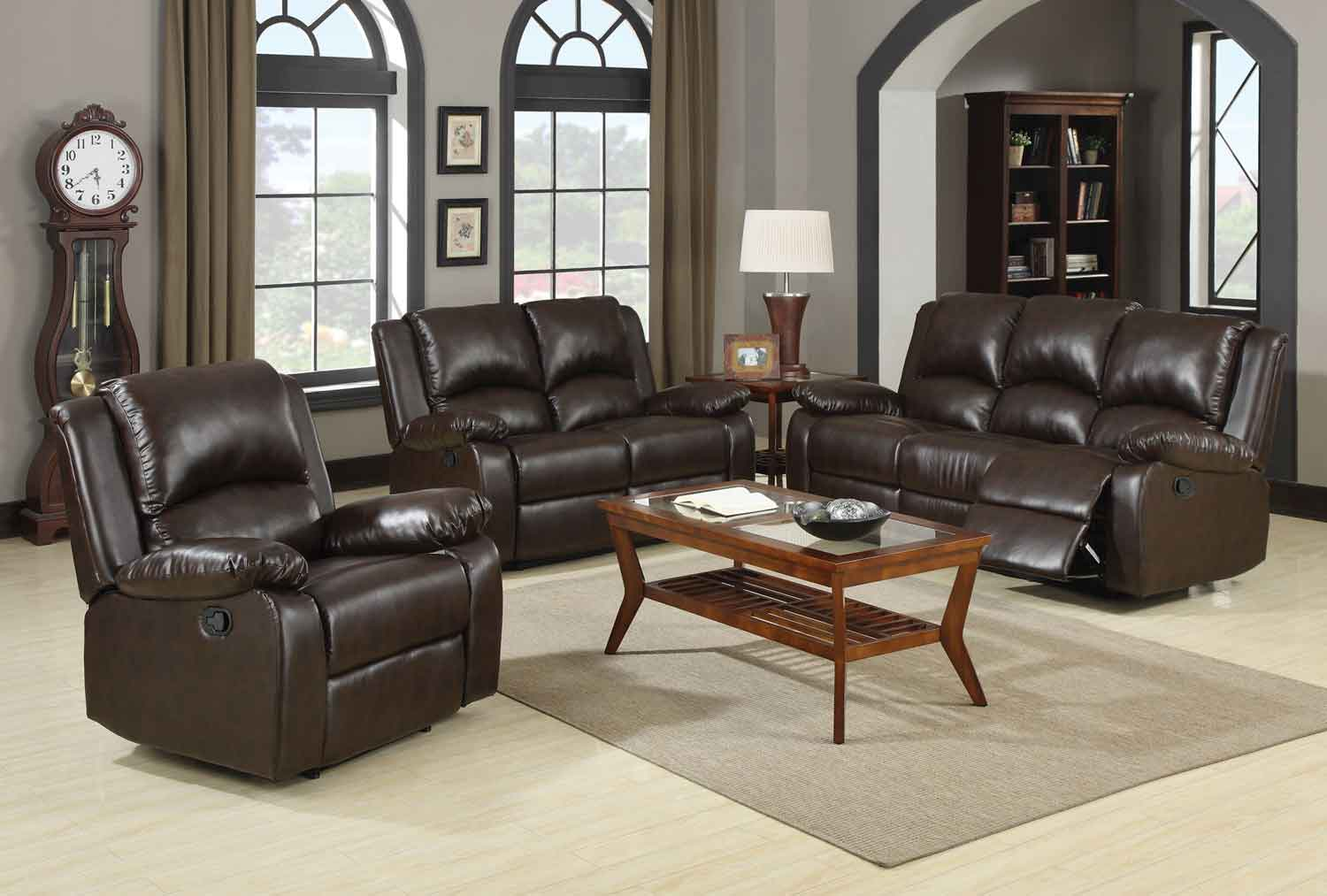Coaster Boston Motion Living Room Set - Brown