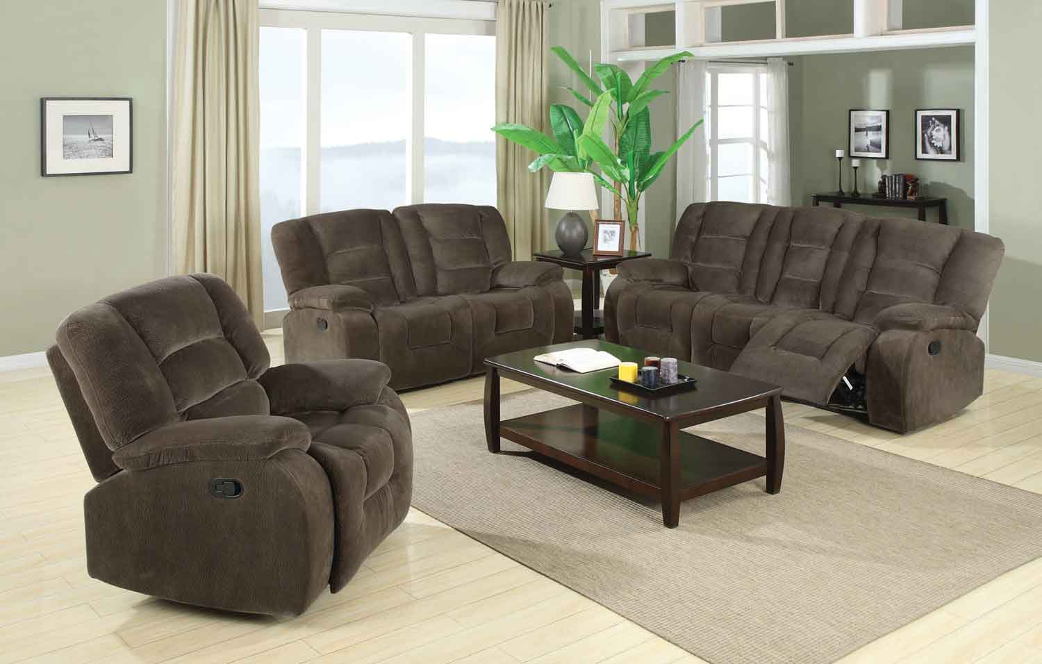 Coaster Charlie Motion Living Room Set Brown Sabe