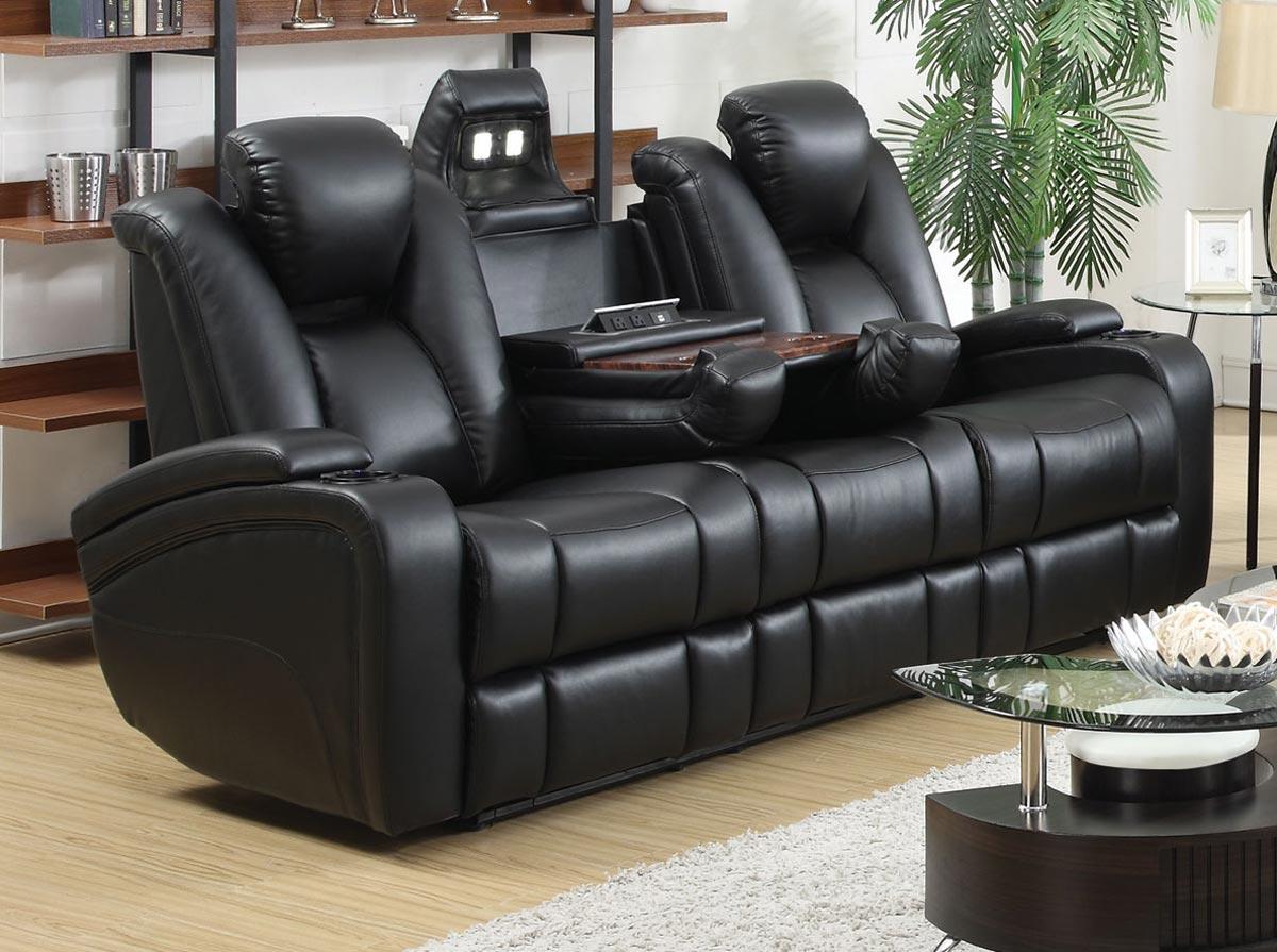 Coaster Delange Power Sofa - Black
