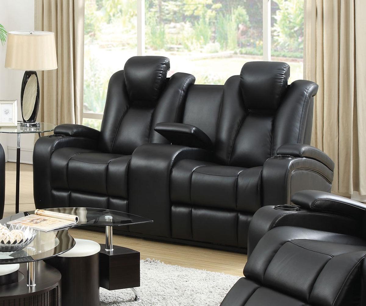 Coaster Delange Power Love Seat - Black