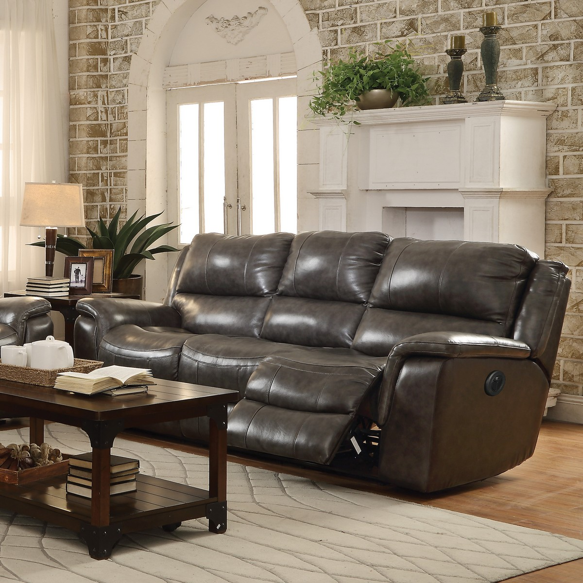 Coaster Wingfield Power Reclining Sofa Two Tone Charcoal