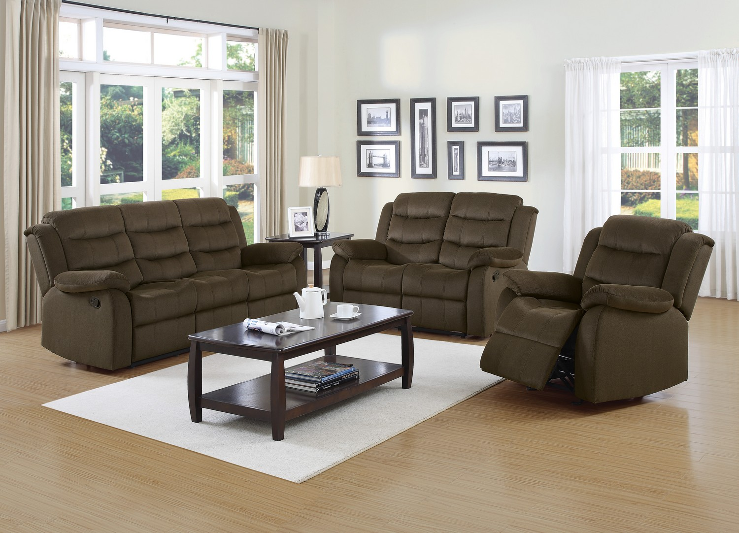 Coaster Rodman Reclining Sofa Set - Two-tone Chocolate