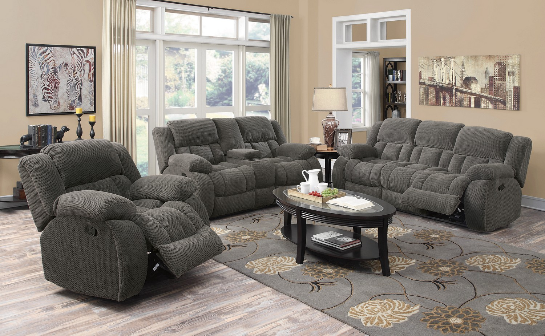 Coaster Weissman Reclining Sofa Set   Charcoal