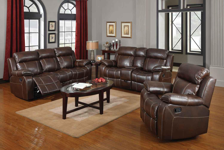 Coaster Myleene Motion Living Room Set - Chestnut