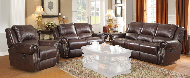 Coaster Sir Rawlinson Motion Sofa Set - Burgundy Brown