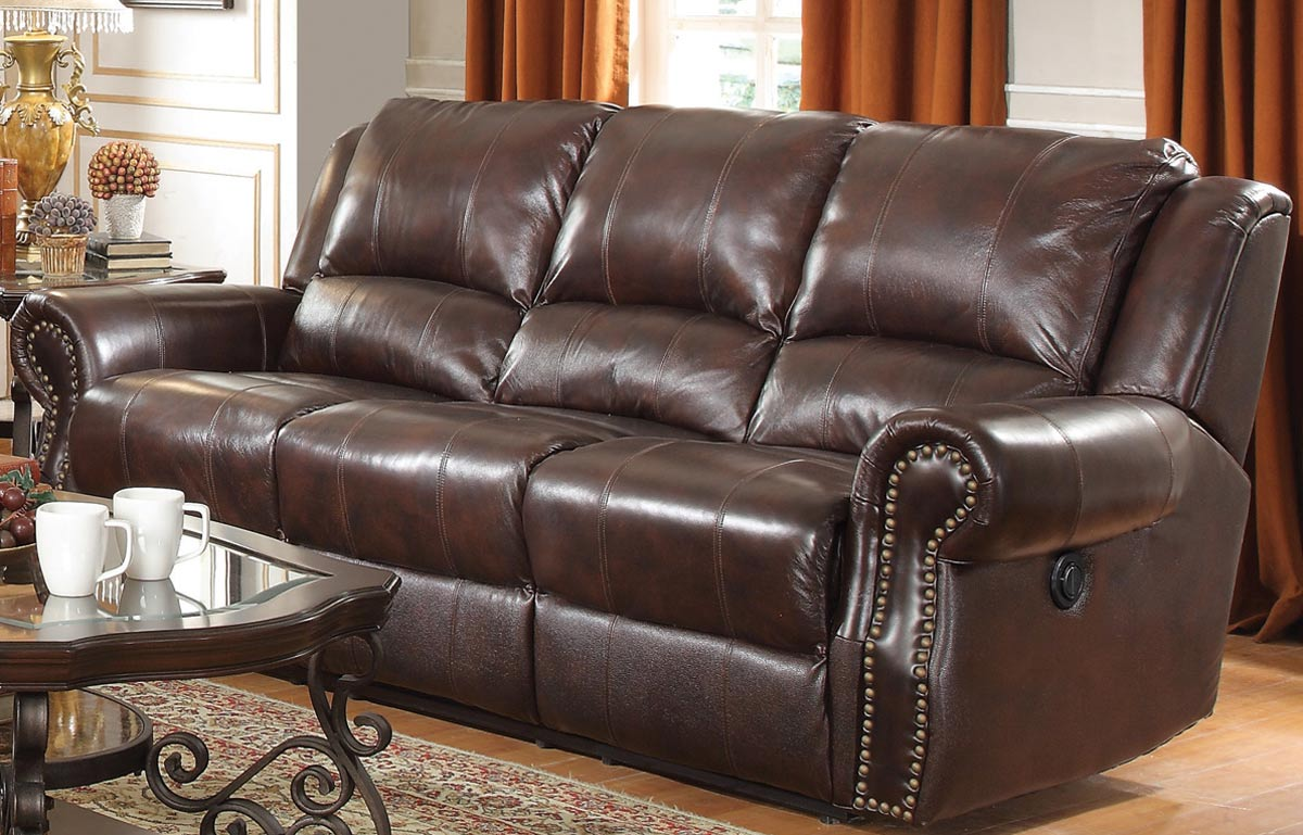 Coaster Sir Rawlinson Motion Sofa Set - Burgundy Brown