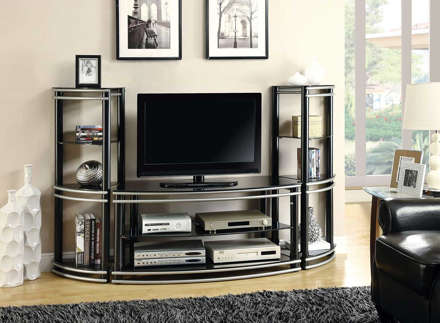 Coaster 700722 TV Entertainment Set - Black/Silver