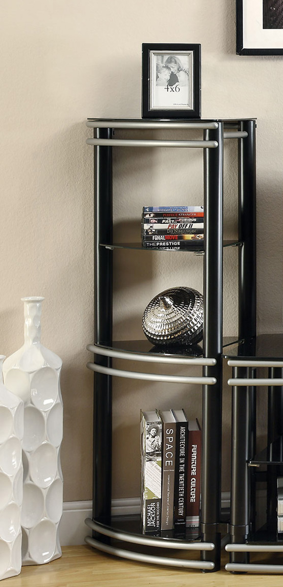 Coaster 700723 Media Tower - Black/Silver