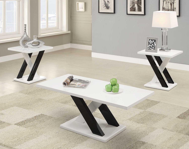 Coaster 701011 Occasional/Coffee Table Set - Black/White