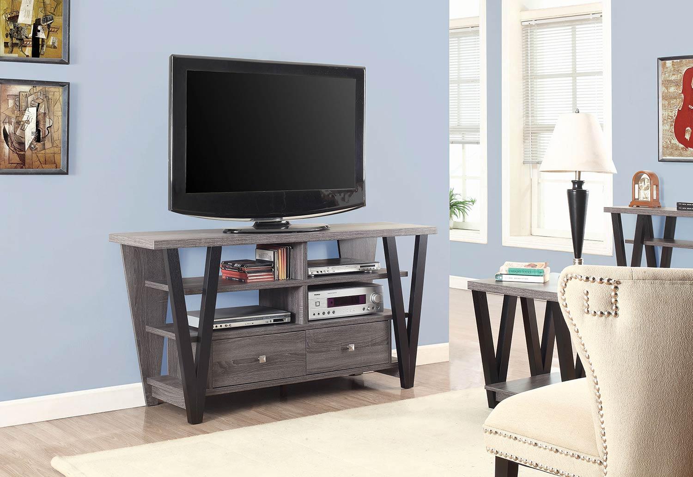 Coaster 701015 TV Console - Chestnut/ Glossy White