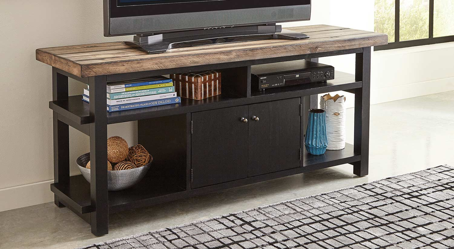 Coaster Wylder TV Console - Rustic Brown/Black