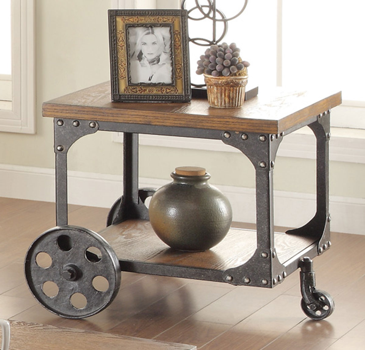 Coaster 701127 End Table - Rustic/Metal