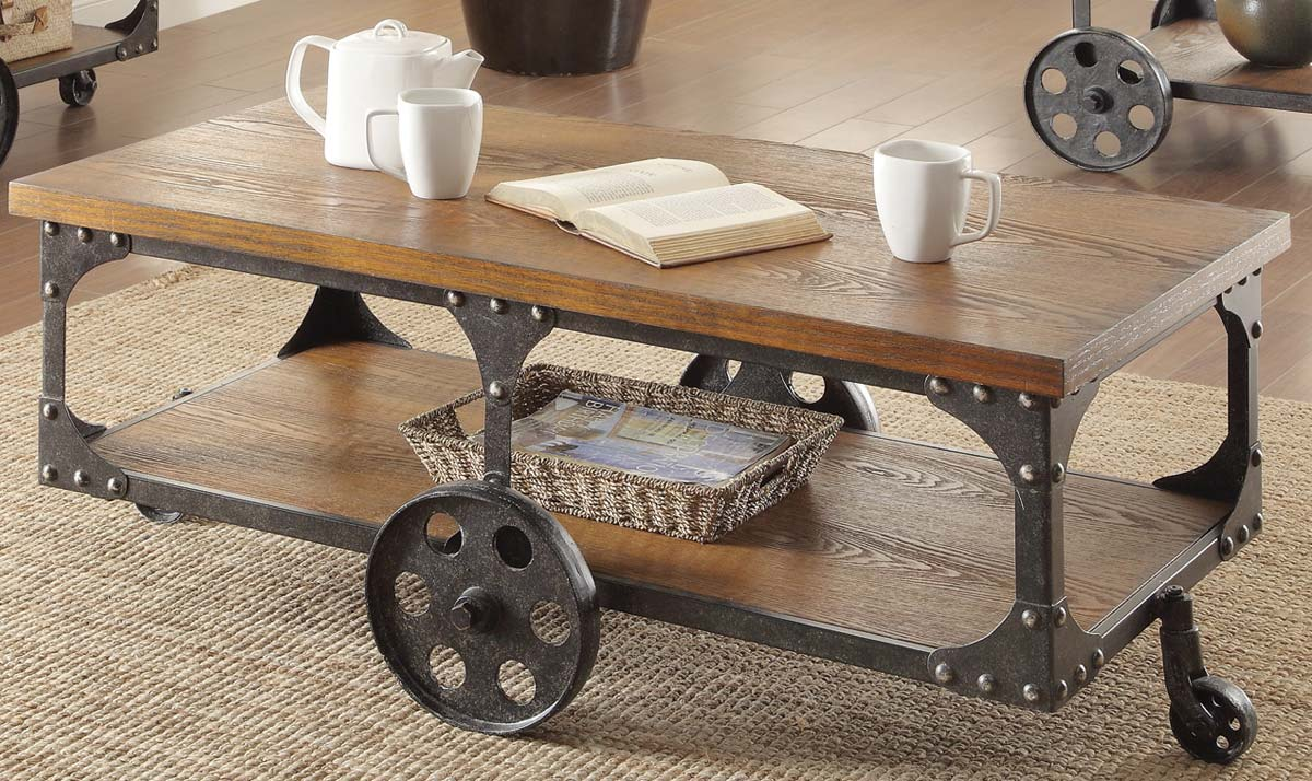 Coaster 701128 Coffee Table - Rustic/Metal