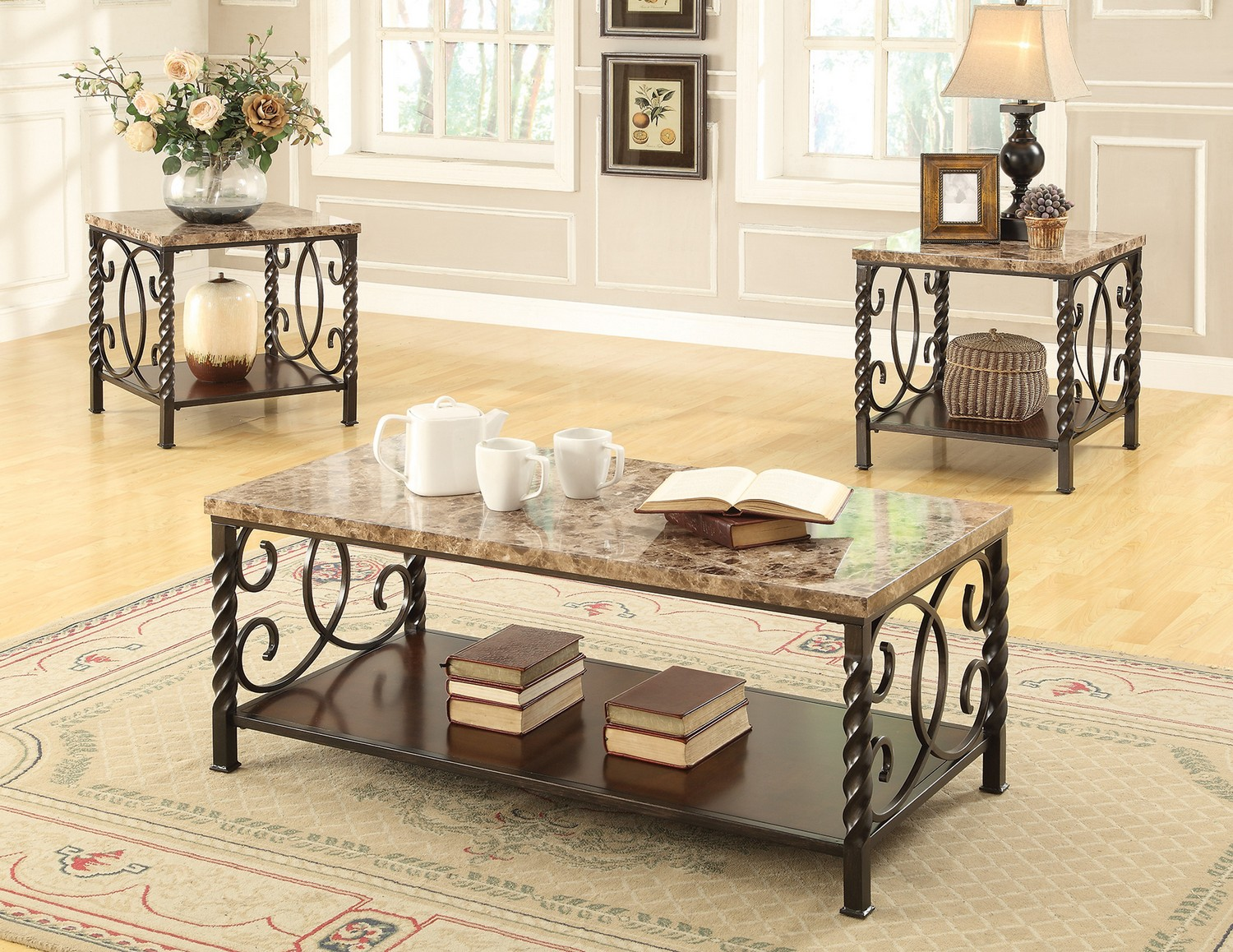 Coaster 701695 3 Pc Coffee Cocktail Table Set Dark Brown 701695 At