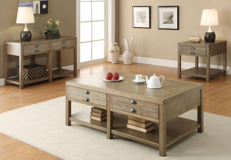 Coaster 701958 Coffee Table Set - Light Oak