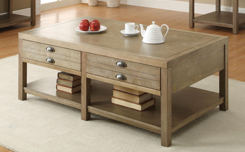 Superior Coaster 701958 Coffee Table   Light Oak