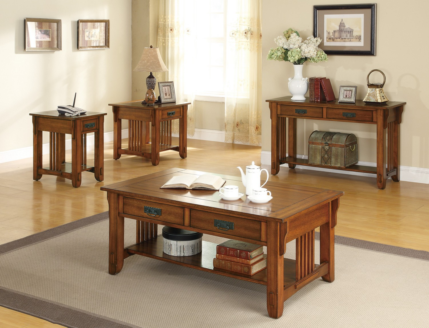 Coaster 702008 Coffee/Cocktail Table Set - Warm Brown
