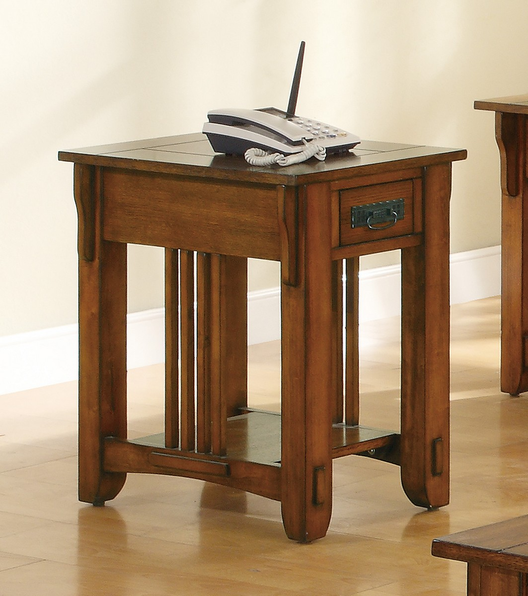 Coaster 702006 Chairside Table - Warm Brown