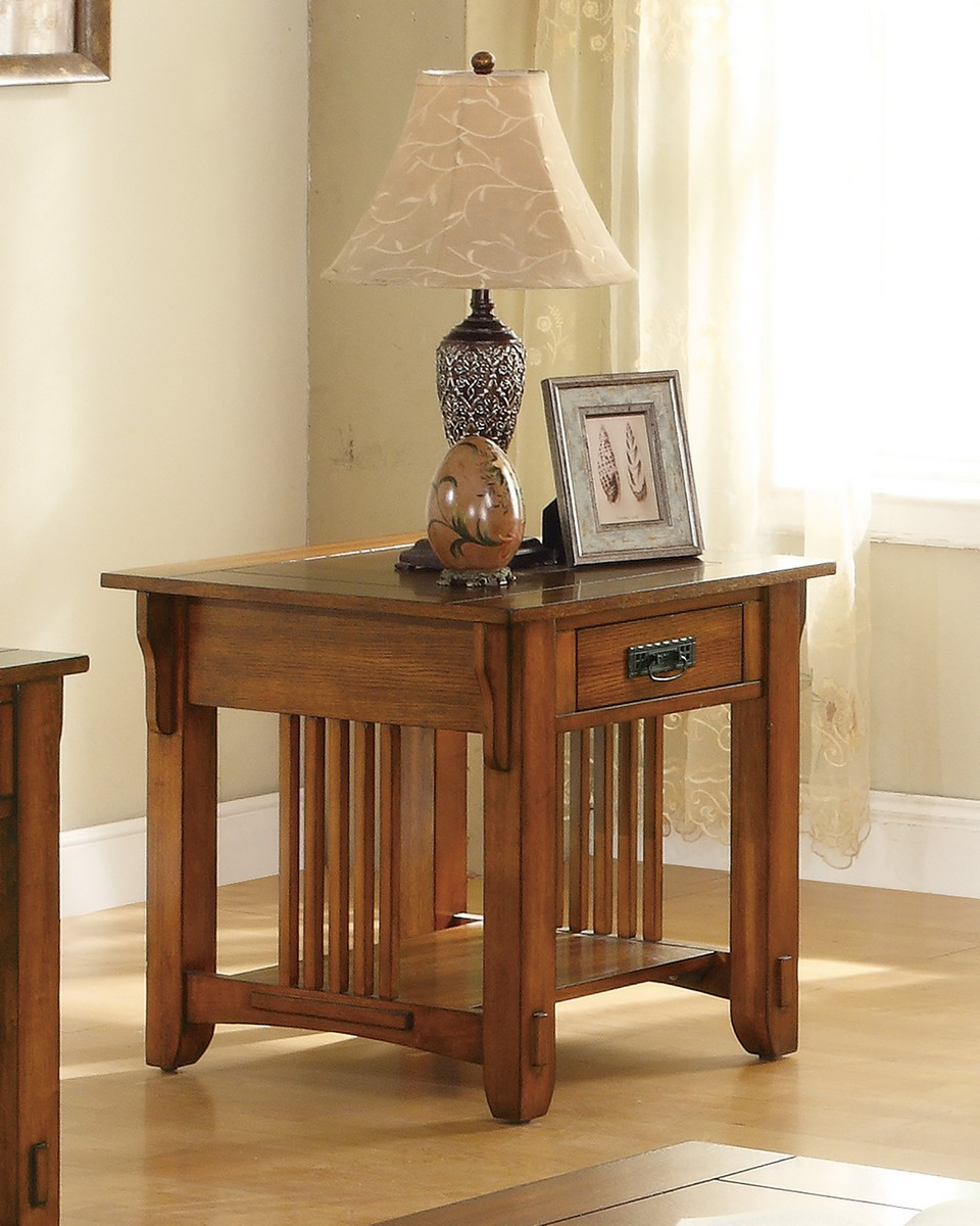 Coaster 702007 End Table - Warm Brown