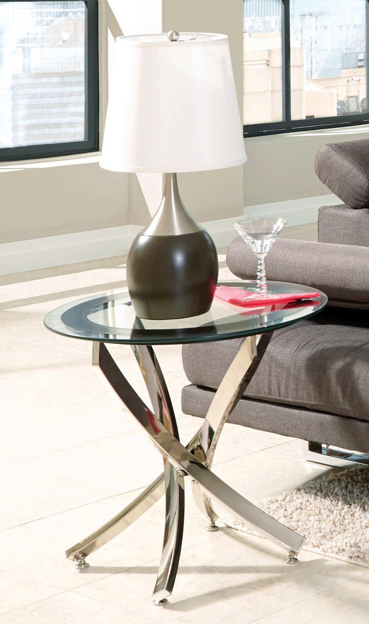 Coaster 702587 End Table - Black/Chrome