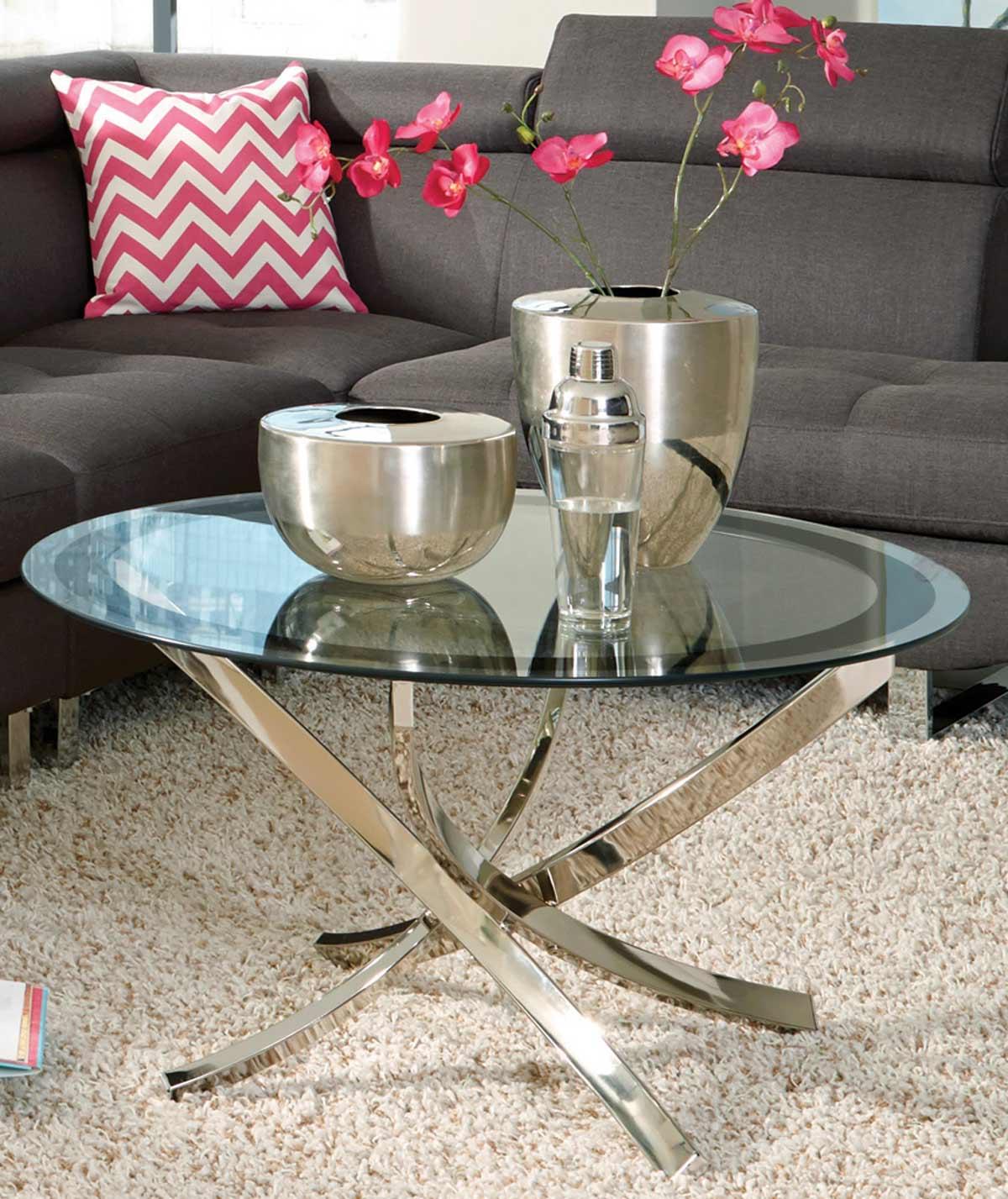 Coaster 702588 Coffee Table - Black/Chrome