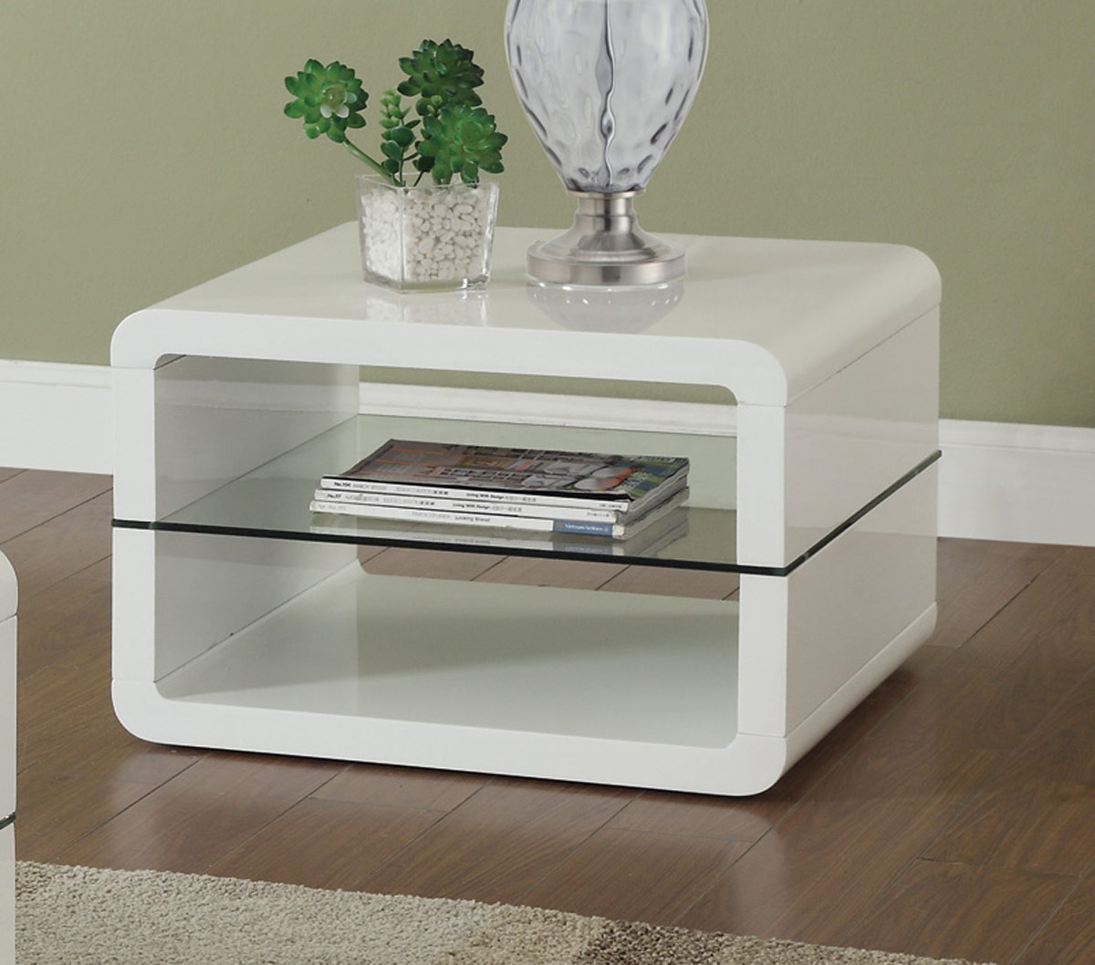 Coaster 703267 End Table - Glossy White